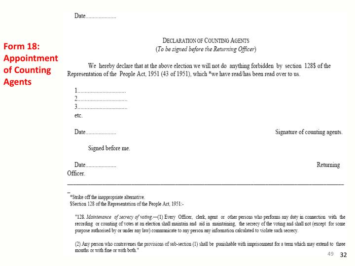 Form 18: Appointment of Counting Agents
