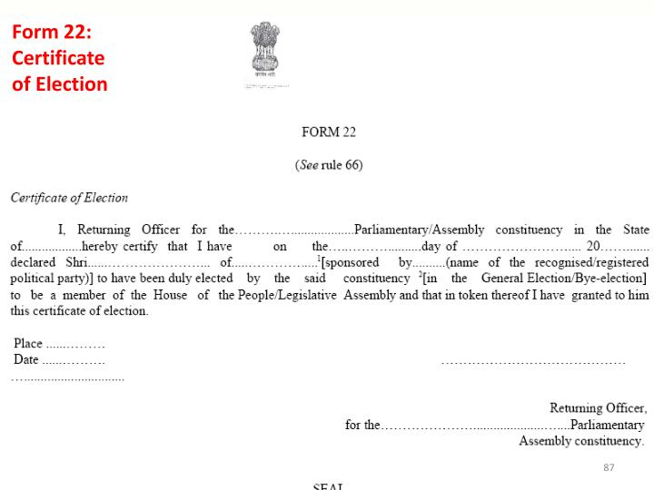 Form 22: Certificate of Election