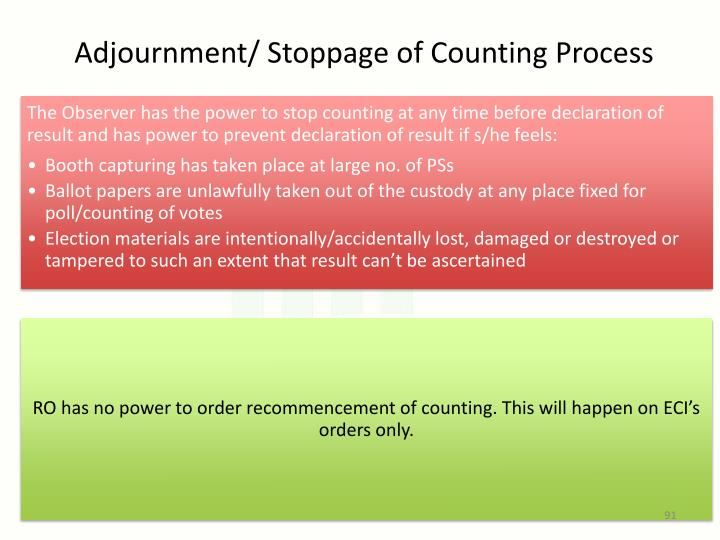 Adjournment/ Stoppage of Counting Process