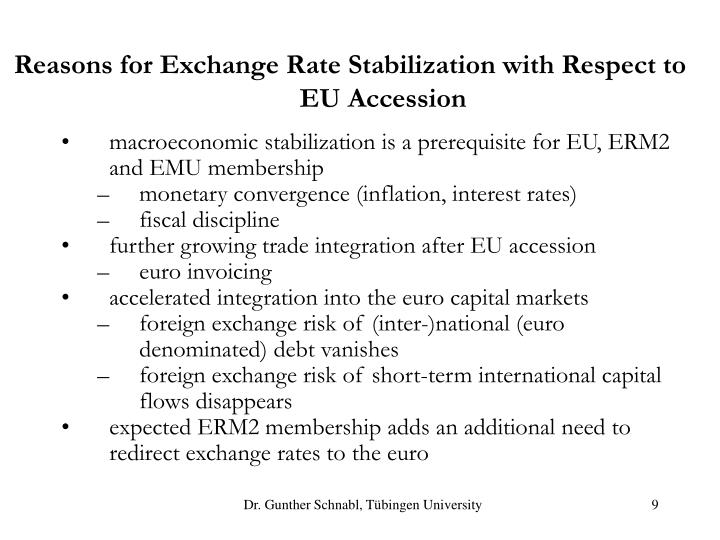 Reasons for Exchange Rate Stabilization with Respect to EU Accession