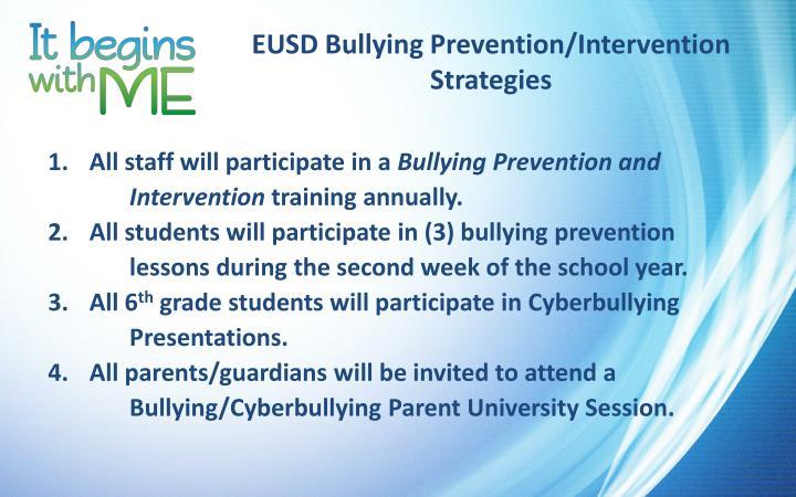 EUSD Bullying Prevention/Intervention Strategies