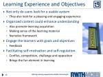 learning experience and objectives