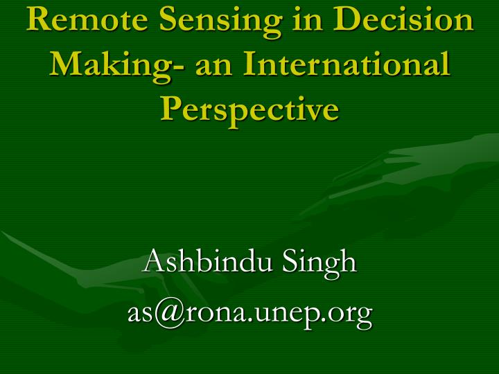 remote sensing in decision making an international perspective n.