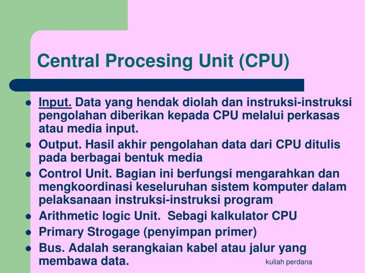 Central Procesing Unit (CPU)