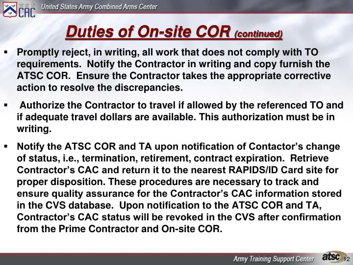 Duties of On-site COR