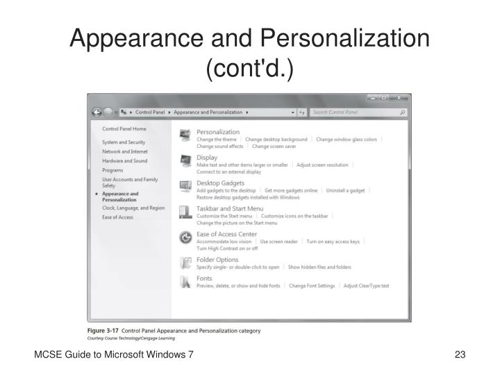 Appearance and Personalization (cont'd.)