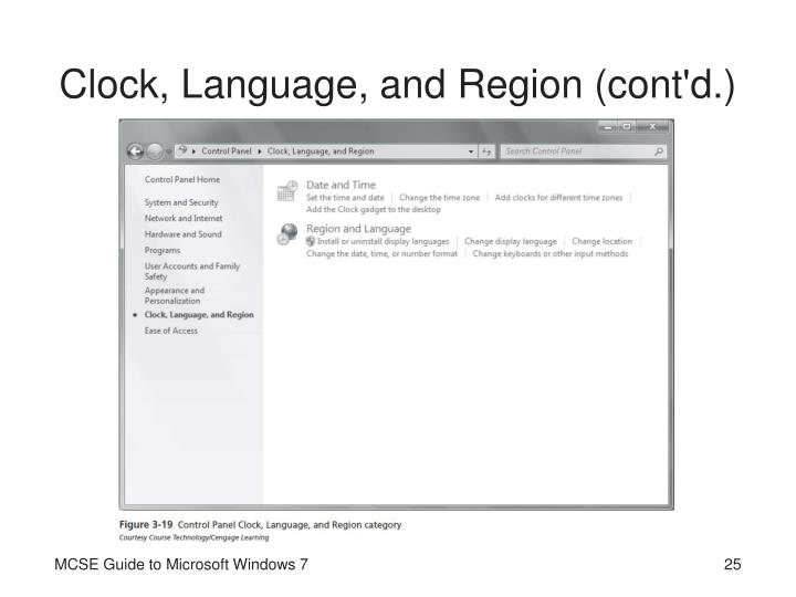 Clock, Language, and Region (cont'd.)