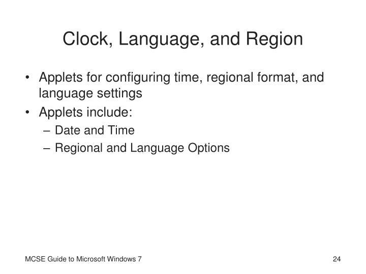 Clock, Language, and Region