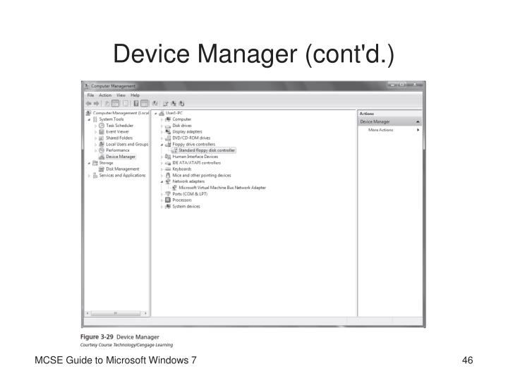 Device Manager (cont'd.)