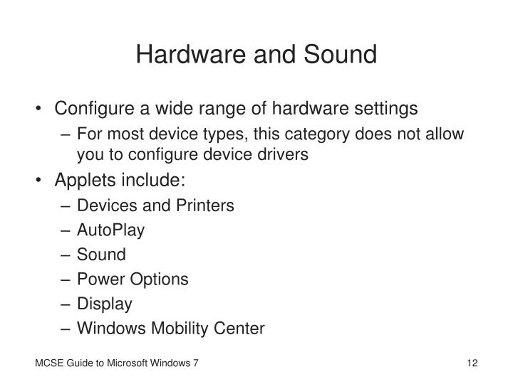 Hardware and Sound