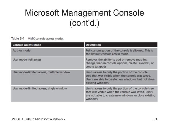 Microsoft Management Console (cont'd.)