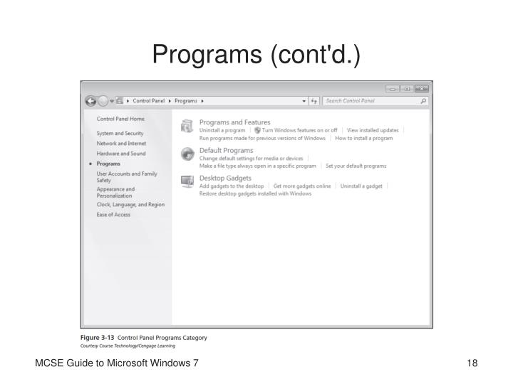 Programs (cont'd.)
