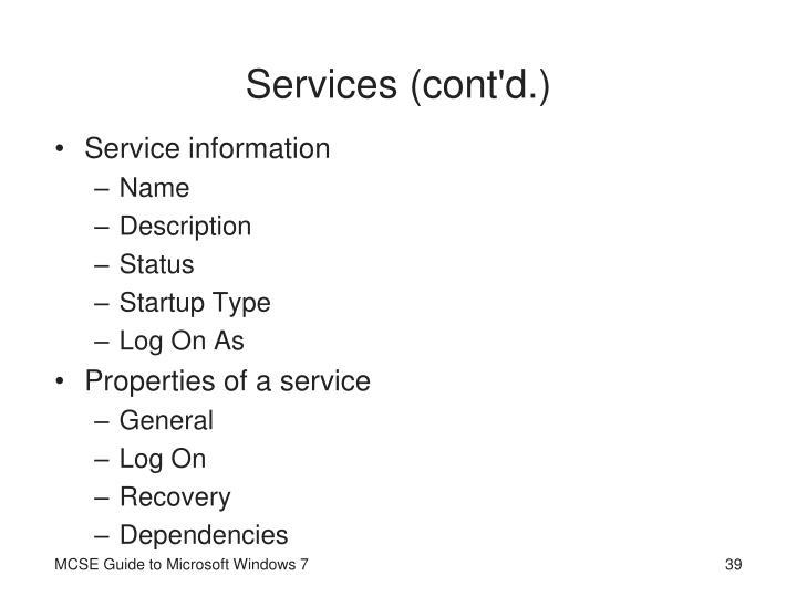 Services (cont'd.)