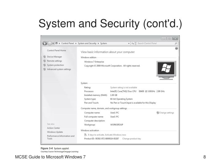 System and Security (cont'd.)