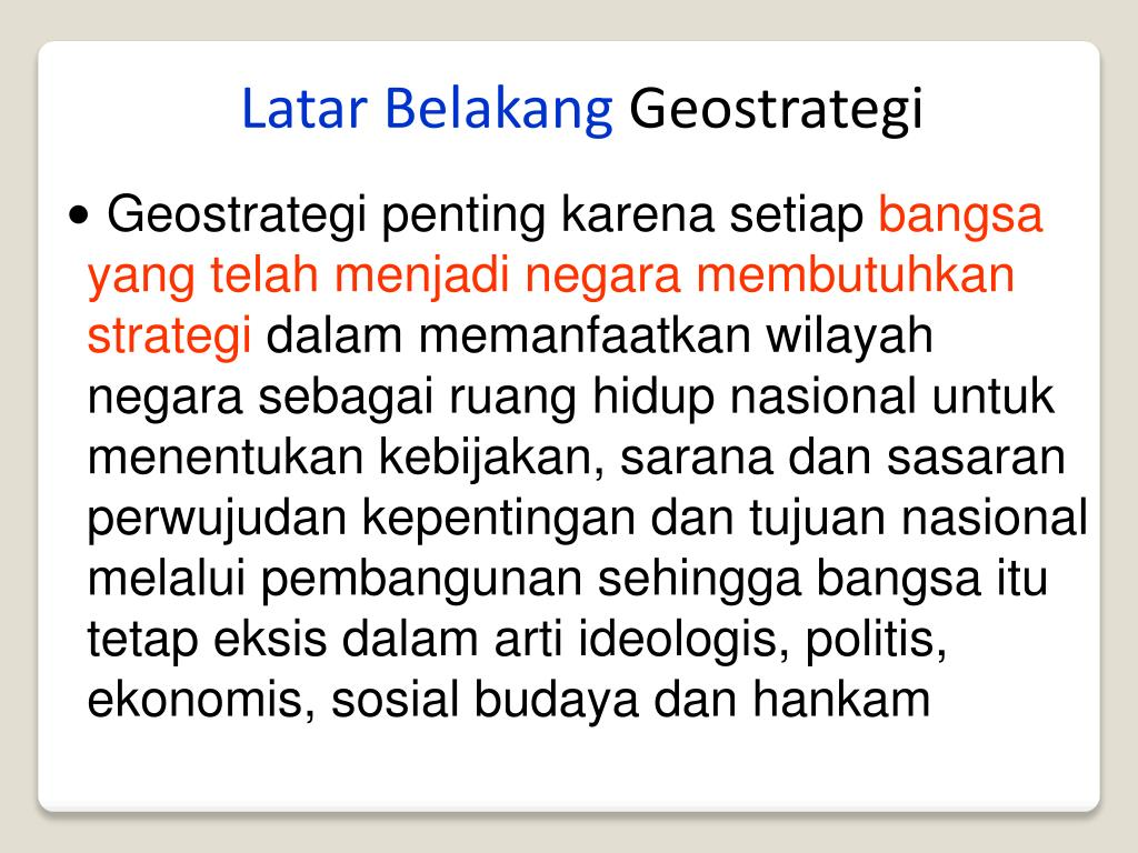 Contoh Rumusan Masalah Geostrategi