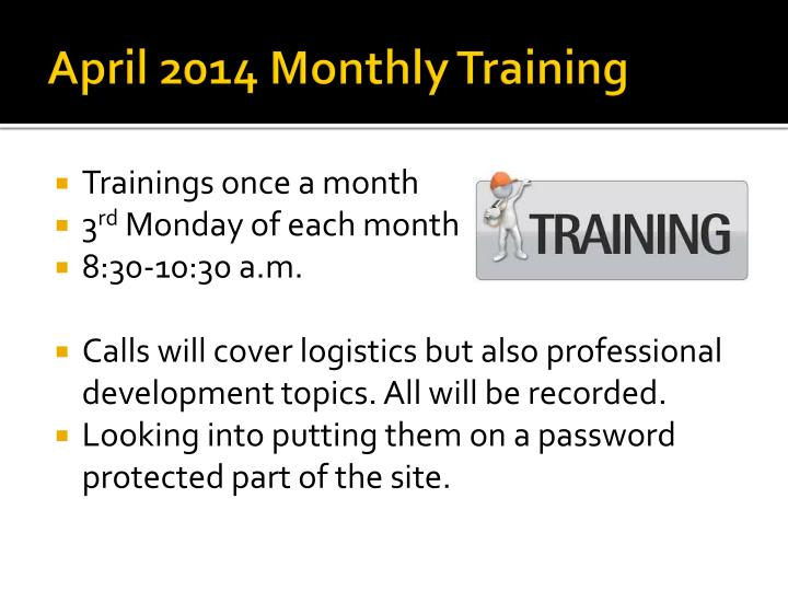 april 2014 monthly training n.