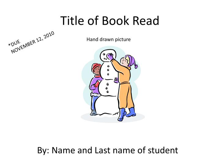 Title of book read