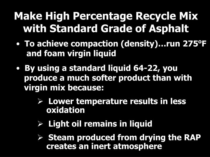 Make High Percentage Recycle Mix with Standard Grade of Asphalt