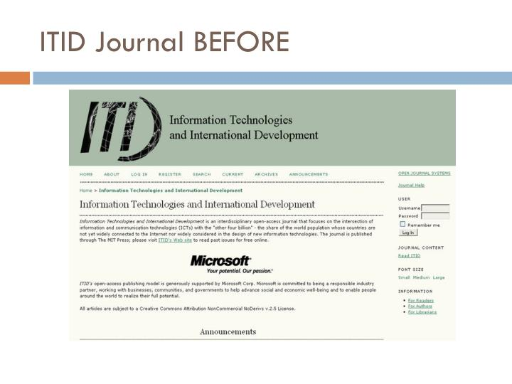 ITID Journal BEFORE