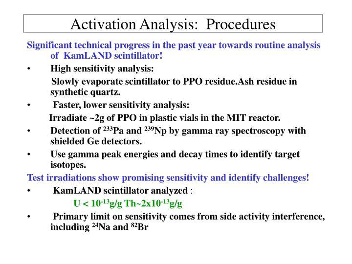 Activation Analysis:  Procedures
