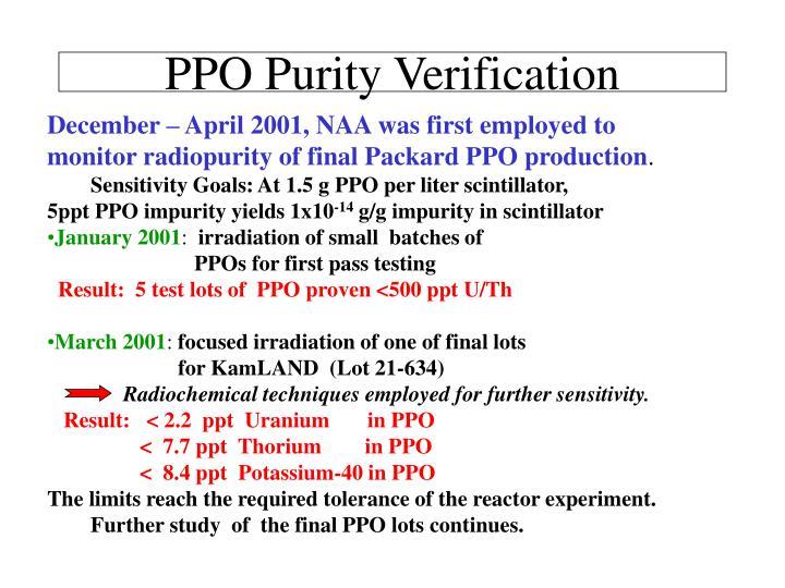 PPO Purity Verification