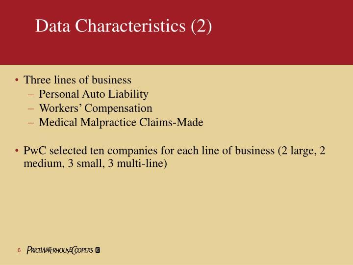 Data Characteristics (2)