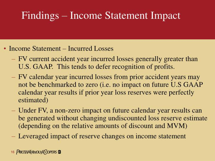 Findings – Income Statement Impact
