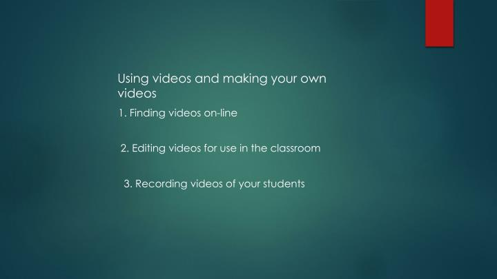 Using videos and making your own videos