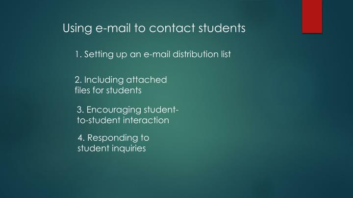 Using e-mail to contact students