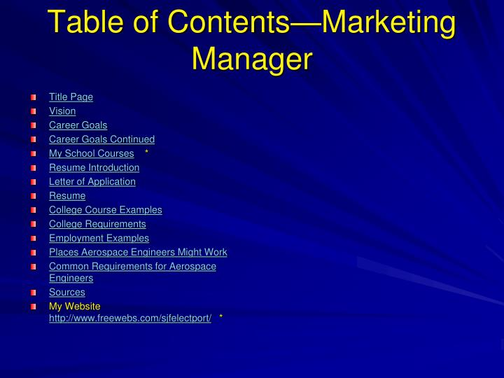 Ppt Table Of Contents Marketing Manager Powerpoint
