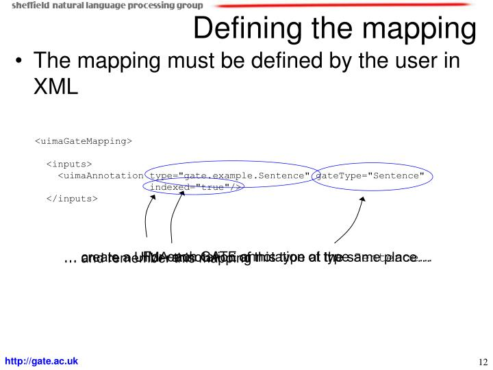 The mapping must be defined by the user in XML
