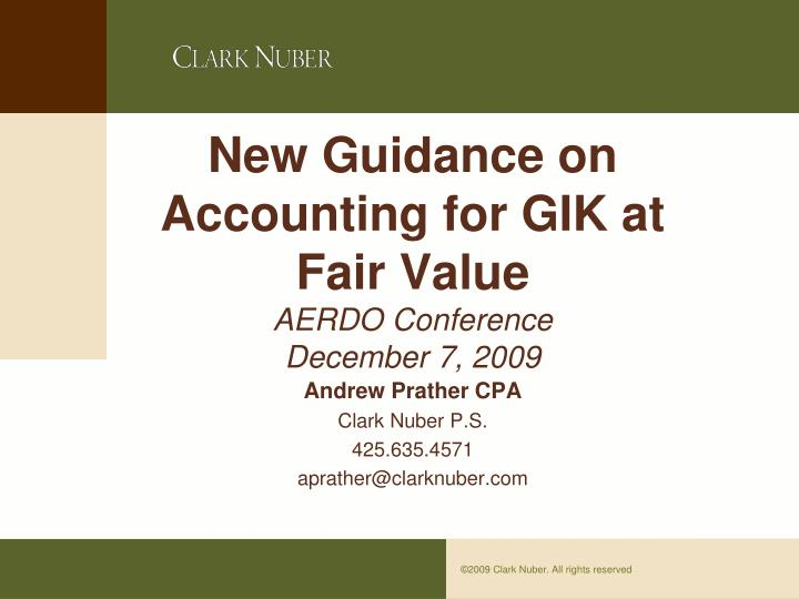 fair value a new accounting standard