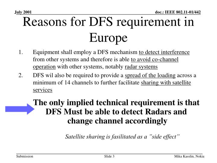 Reasons for dfs requirement in europe1