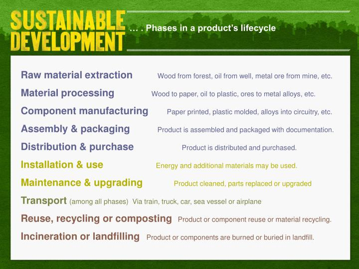 … . Phases in a product's lifecycle
