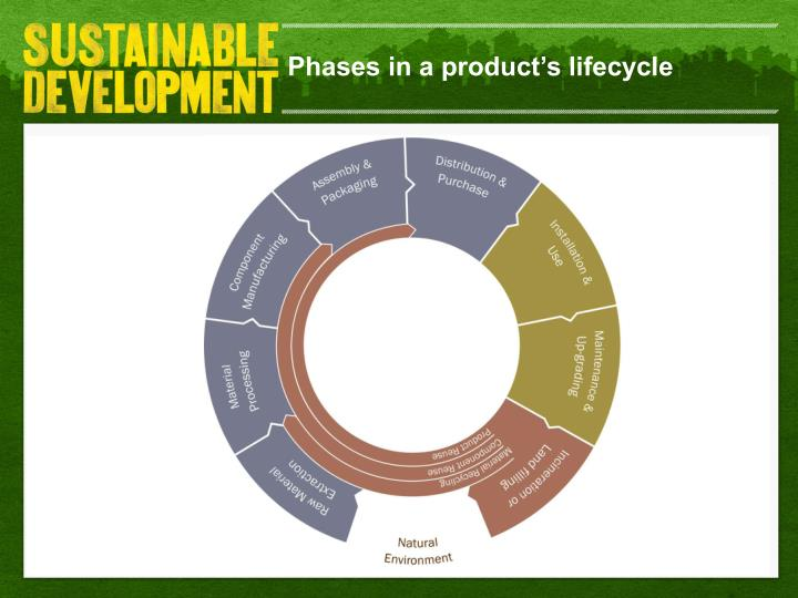 Phases in a product's lifecycle