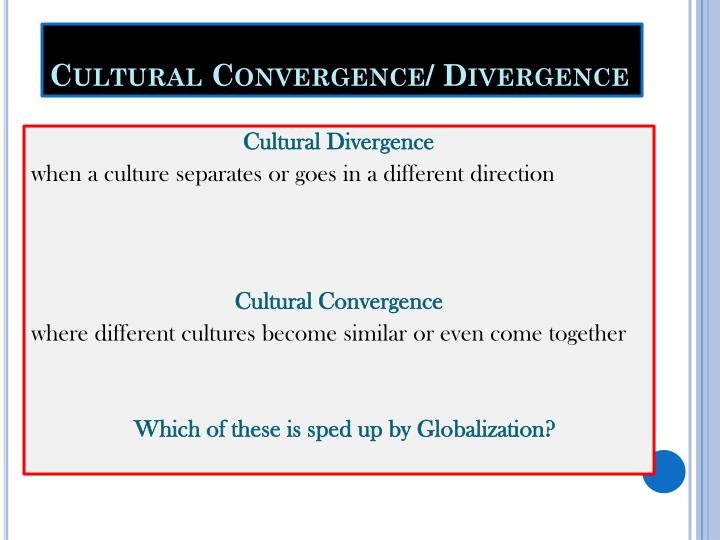convergence vs divergence Convergence vs divergence 1104 words   4 pages i will examine the smaller ideas contained within the theory , specifically, the ideas of convergence and divergence, in order to fully explain the argument.