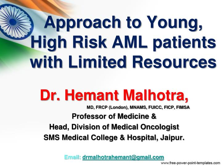 Approach to young high risk aml patients with limited resources