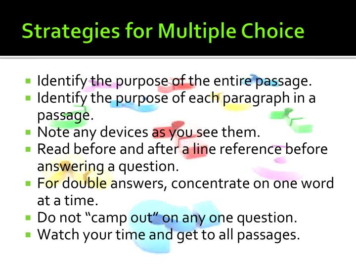 Strategies for Multiple Choice