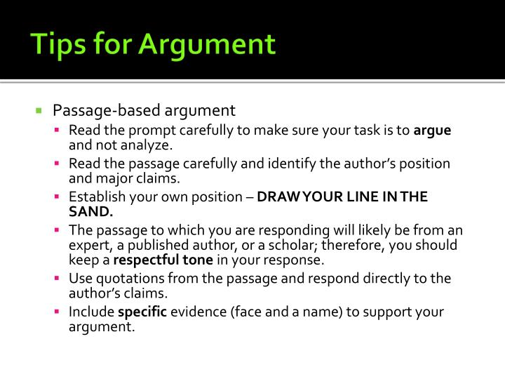Tips for Argument