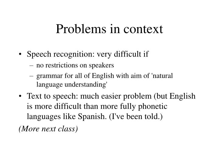 Problems in context