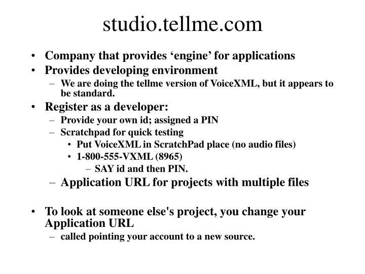 studio.tellme.com