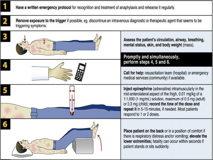 Basic management of anaphylaxis.