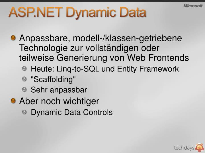 Asp net dynamic data