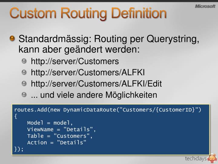 Custom Routing Definition