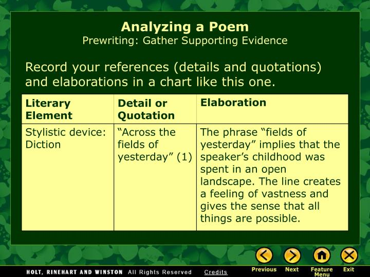 stylistic analysis of of the poem going Josie fenner eng 104, prof c agatucci midterm literary analysis paper 29 october 2003 the lord of the rings some stories can affect people emotionally, but once in a while a story can call a person to escape to it.