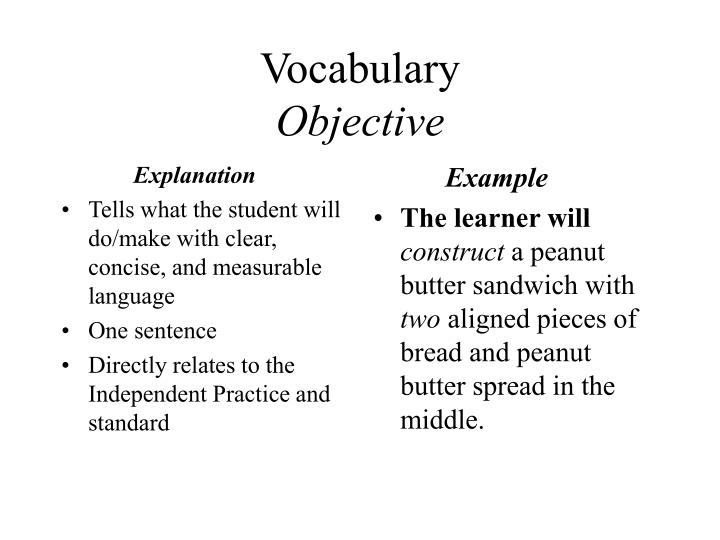 Vocabulary objective
