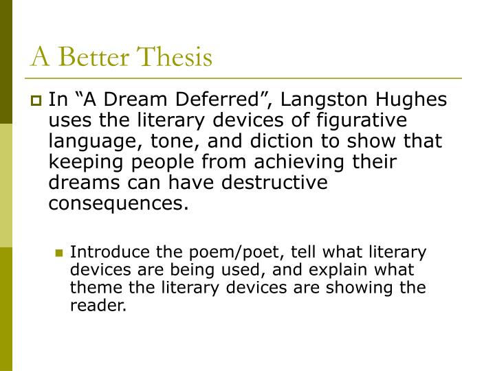 a dream deferred by langston hughes theme