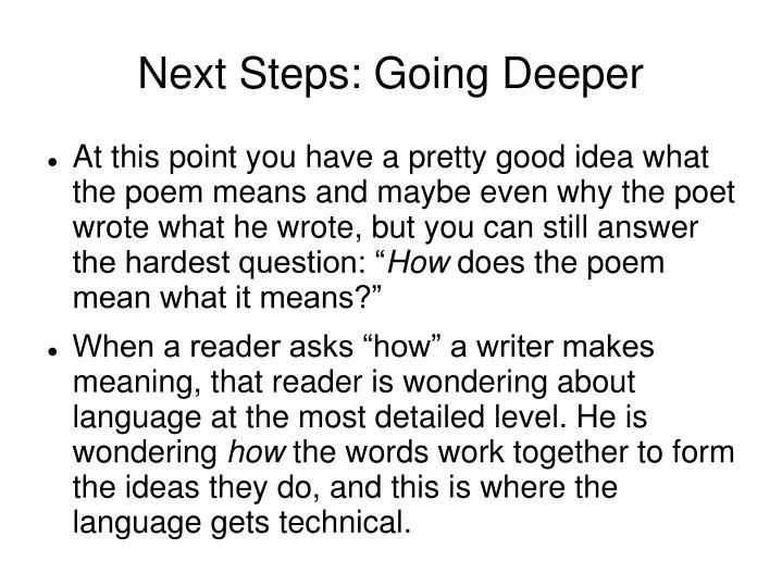 Next Steps: Going Deeper