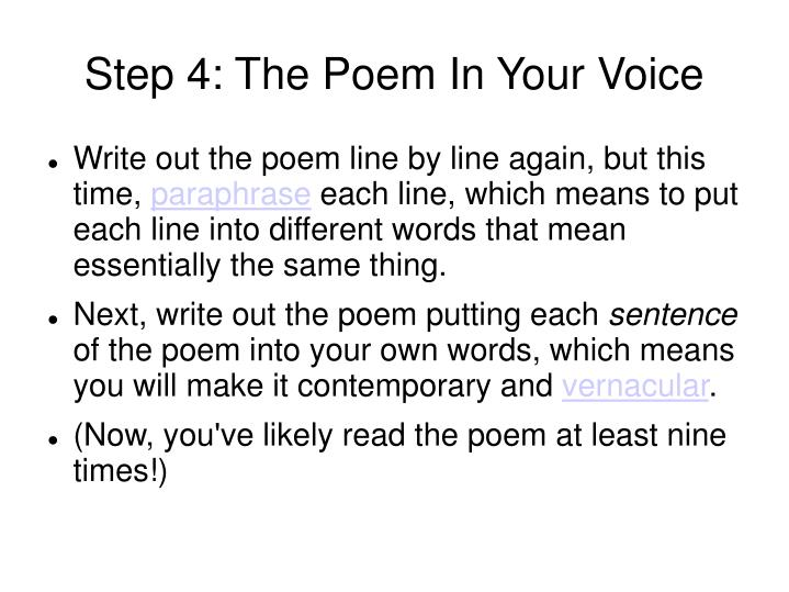 Step 4: The Poem In Your Voice