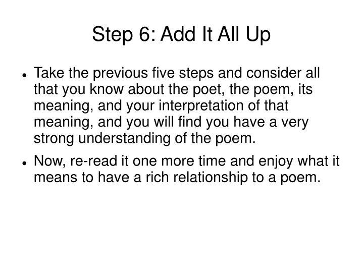 Step 6: Add It All Up